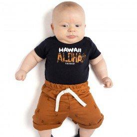 conjunto bebe menino body e bermuda moletinho marinho caramelo 4088 9325