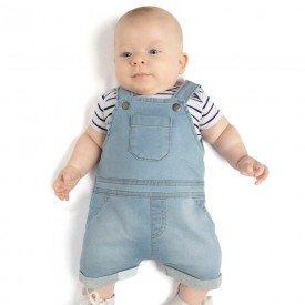 conjunto bebe menino body branco e jardineira jeans confort claro 4089 9326