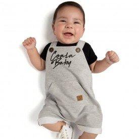 conjunto bebe menino body e jardineira moletinho preto mescla 4090 9327