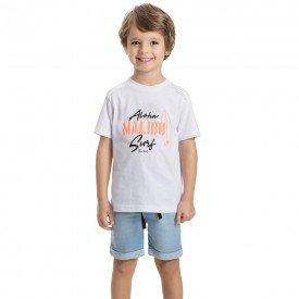 conjunto infantil masculino camiseta branca e bermuda jeans confort 5326 9331
