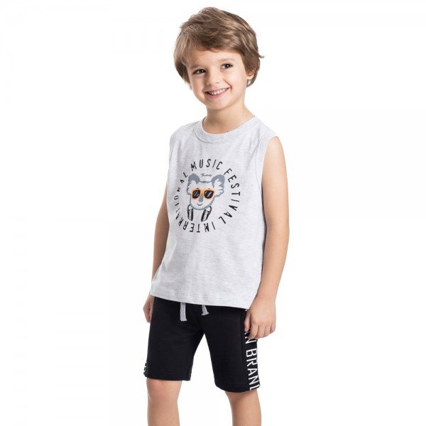 conjunto infantil masculino machao e bermuda moletinho mescla light preto 5332 9337