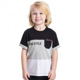 camiseta infantil masculina style preto mescla branco 5336 9339