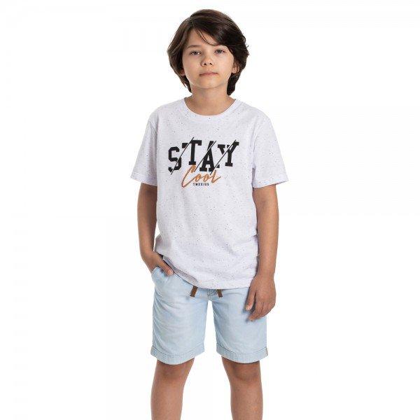 conjunto infantil masculino camiseta branca e bermuda jeans light 6328 9355