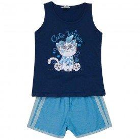 conjunto infantil feminino regata e short moletinho marinho jeans azul 491 9201