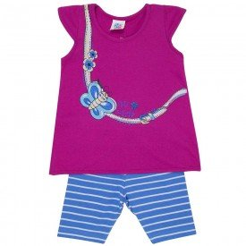conjunto infantil feminino borboleta pink azul porcelana 494 9207