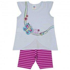 conjunto infantil feminino borboleta branco pink 494 9208