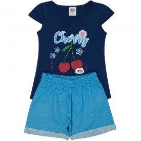 conjunto infantil feminino cherry marinho jeans azul 497 9214
