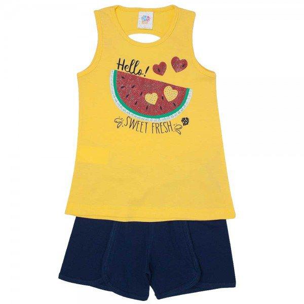conjunto infantil feminino regata e short moletinho amarelo marinho 498 9215