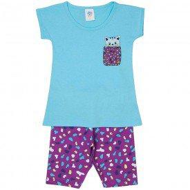 conjunto infantil feminino blusa e bermuda ciclista azul piscina uva 501 9222