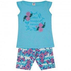 conjunto juvenil feminino flores azul piscina rosa 507 9232