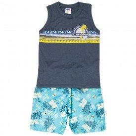 conjunto infantil masculino regata machao e bermuda tactel chumbo azul 514 9249