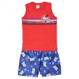 conjunto infantil masculino regata machao e bermuda tactel vermelho royal 514 9251