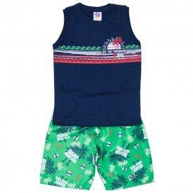 conjunto infantil masculino regata machao e bermuda tactel marinho verde 514 9252