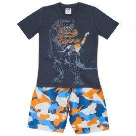 conjunto infantil masculino camiseta e bermuda tactel chumbo laranja 515 9253
