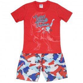 conjunto infantil masculino camiseta e bermuda tactel vermelho vermelho 515 9255