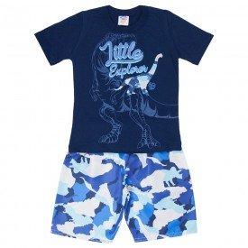 conjunto infantil masculino camiseta e bermuda tactel marinho azul 515 9256