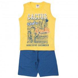 conjunto infantil masculino regata machao e bermuda moletinho amarelo azul jeans 516 9257