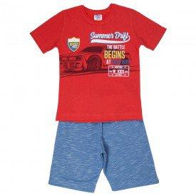 conjunto infantil masculino camiseta e bermuda moletinho vermelho azul jeans 517 9259