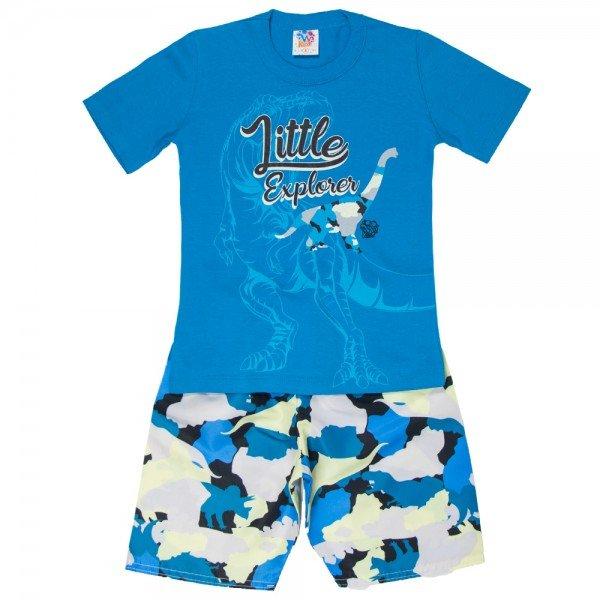 conjunto infantil masculino camiseta e bermuda tactel turquesa amarelo 515 9254
