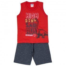 conjunto infantil masculino dino vermelho chumbo 518 9262