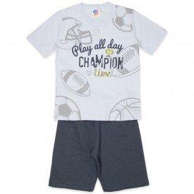 conjunto infantil masculino champion branco chumbo 519 9263