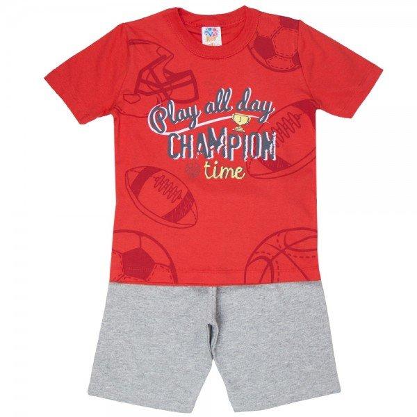 conjunto infantil masculino champion vermelho mescla escuro 519 9264