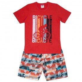 conjunto juvenil masculino camiseta e bermuda tactel vermelho vermelho 521 9269