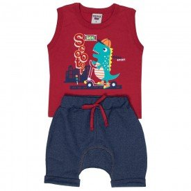 conjunto bebe menino dino vermelho jeans marinho 4557 9114