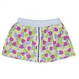 short saia juvenil feminino moletinho folhas pink 4547 9094