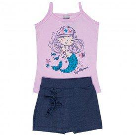 conjunto infantil feminino sereia sorvete jeans marinho 4540 9078