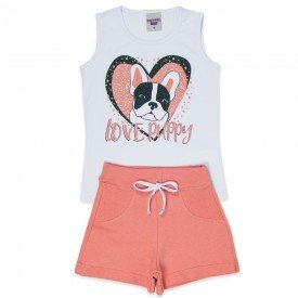 conjunto infantil feminino love puppy branco cosmetic 4533 9074