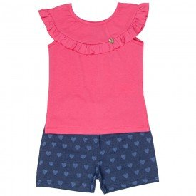 conjunto infantil feminino blusa e short cotton jeans melancia marinho 4524 9071