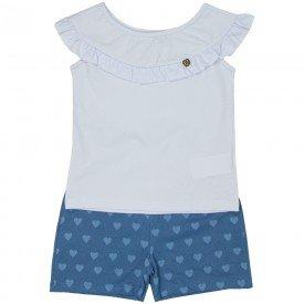 conjunto infantil feminino blusa e short cotton jeans branco azul claro 4524 9070