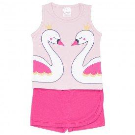 conjunto regata rosa e shorts saia pink 1114