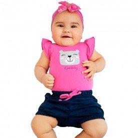 conjunto bebe menina ursinha pink marinho kw001 9380