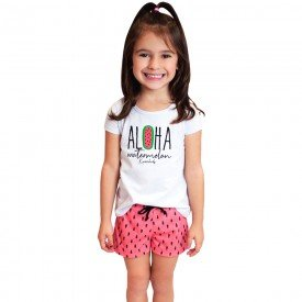 pijama infantil feminino aloha branco melancia kw301 9393