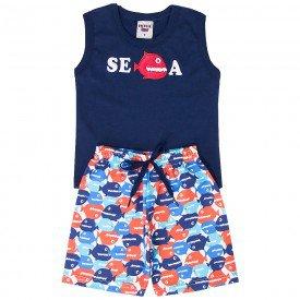 conjunto bebe menino regata e bermuda tactel marinho vermelho 4551 9097