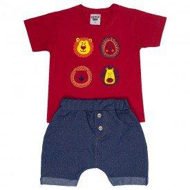 conjunto bebe menino safari vermelho marinho 4554 9105