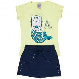 conjunto infantil feminino blusa e short saia lemonade marinho 4539 9076 2