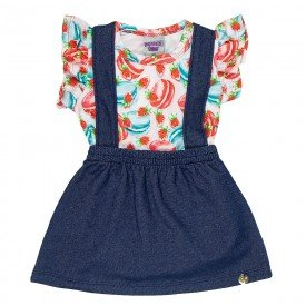 conjunto bebe menina body e jardineira vermelho jeans marinho 4501 9051