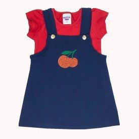 conjunto infantil feminino jardineira vermelho marinho 4518 9066