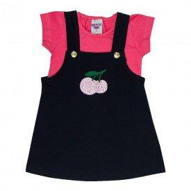conjunto infantil feminino jardineira melancia preto 4518 9067
