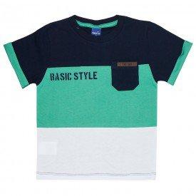 camiseta infantil masculina style marinho verde branco 5336 9340