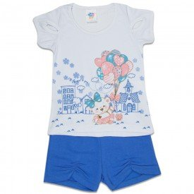 conjunto infantil feminino ursinho branco azul porcelana 492 9202