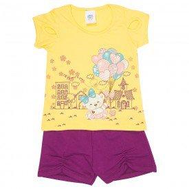 conjunto infantil feminino ursinho amarelo uva 492 9203
