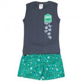 conjunto infantil masculino regata machao e bermuda tactel chumbo verde 508 9233