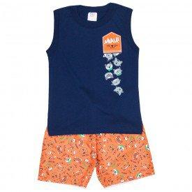 conjunto infantil masculino regata machao e bermuda tactel marinho laranja 508 9236