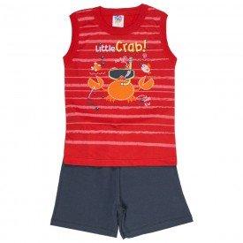 conjunto infantil masculino regata machao e bermuda moletinho vermelho chumbo 510 9243