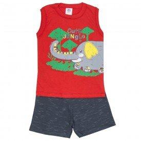 conjunto infantil masculino jungle vermelho chumbo 512 9248