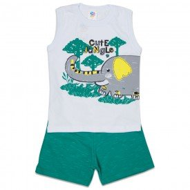conjunto infantil masculino jungle branco verde primavera 512 9247